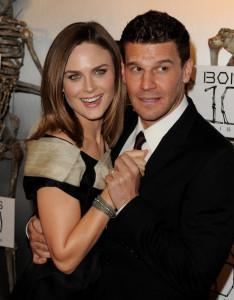 Emily Deschanel and David Boreanaz arrive at Fox TVs celebration of Bones 100th episode at 650 North on April 7th 2010 in Los Angeles 2