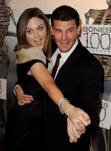 Emily Deschanel and David Boreanaz arrive at Fox TVs celebration of Bones 100th episode at 650 North on April 7th 2010 in Los Angeles 6
