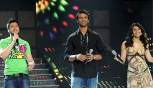 picture on April 9th 2010 from the 8th prime of Star Academy seven of Rayan Eid from Lebanon with the two other nominees Tahra from Morocco and Mohamad Moghrabi from Egypt