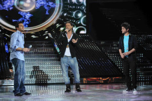 picture on April 9th 2010 from the 8th prime of Star Academy seven of Fadi Andrawos singing on stage with Basel Khoury and Nassif Zaitoun