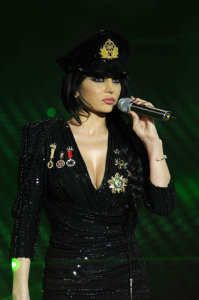 picture on April 9th 2010 from the 8th prime of Star Academy seven of Haifa Wehbe on stage wearing a black cop like suit