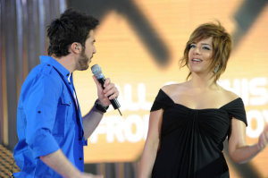 picture on April 9th 2010 from the 8th prime of Star Academy seven of Mahmoud Shokry from Egypt and Meral Faisal from Syria while singing on stage