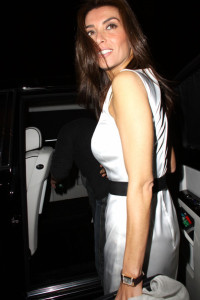 Mezghan Hussainy seen as she leaves in his limo following dinner at Cecconis in West Hollywood on april 1st 2010