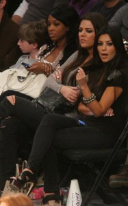 Kim and Khloe Kardashian seen together on April 4th 2010 watching a game at Staples Center in Los Angeles California 2