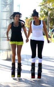 Kim and Kourtney Kardashian were spotted together on April 9th 2010 near the South Beach shoreline while working out with what looked like training shoes 2