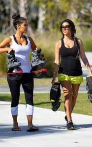 Kim and Kourtney Kardashian were spotted together on April 9th 2010 near the South Beach shoreline while working out with what looked like training shoes 6