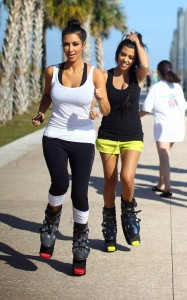 Kim and Kourtney Kardashian were spotted together on April 9th 2010 near the South Beach shoreline while working out with what looked like training shoes 1