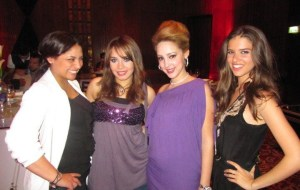 picture of Lara Scandar with Basma Bossiel, Aya, and Marwa Bin Soghayer at Mohamad Serag's birthday party on April 21st 2010 in Cairo Egypt
