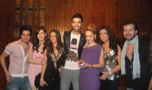 picture of many star academy students at Mohamad Serag birthday party on April 21st 2010 in Cairo Egypt