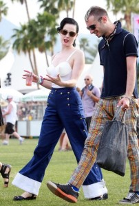 Dita Von Teese and a male friend seen during day 2 of the Coachella Valley Music and Art Festival 2010 held at The Empire Polo Club on April 17th 2010 in Indio California 3