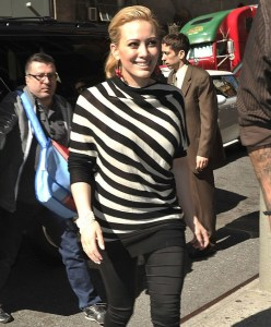 Hilary Duff spotted on April 14th 2010 as she was arriving in New York City for an appearace on Live with Regis and Kelly 1