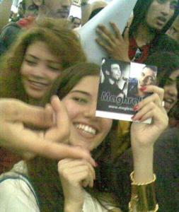 Lara Scandar and Rania Naguib waiting for Mohamad Moghraby as he reaches Cairo Airport after being voted off star academy seven on April 30th 2010
