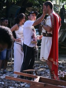 Haifa Wehbe photo while on the filming set of the latest 2010 video clip wearing a roman style dress 2