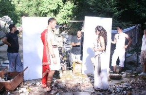 Haifa Wehbe photo while on the filming set of the latest 2010 video clip wearing a roman style dress 3