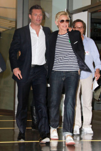 Ryan Seacrest and Ellen Degeneres leaving the Larry King show for promoting the Idol Gives Back Foundation on April 19th 2010 in Hollywood 2
