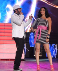 Tamer Hosny with Merhan Hussein on stage during a summer concert 1