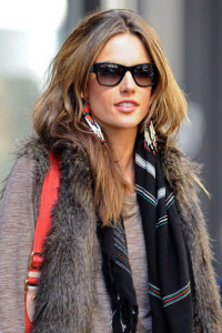 Alessandra Ambrosio spotted wearing a fur vest on April 24th 2010 after visiting the Victorias Secret store in SoHo 3