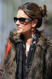 Alessandra Ambrosio spotted wearing a fur vest on April 24th 2010 after visiting the Victorias Secret store in SoHo 1