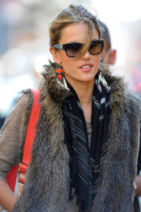 Alessandra Ambrosio spotted wearing a fur vest on April 24th 2010 after visiting the Victorias Secret store in SoHo 2