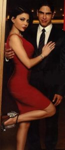 Haifa Wehbe picture with her husband Ahmed abo Hashimah wearing a red dress