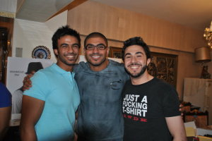Mahmoud Shokry with Mohamad Ali and singer Khaled Selim inside his house after he reached back egypt