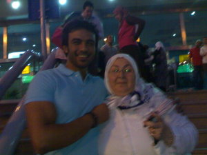 Mohamad Ali from Egypt with Shoukris mother as they wait for his arrival at the airport