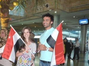 Mohamad Ali from Egypt with Lara Scandar as they wait to Mahmouds arrival at the airport