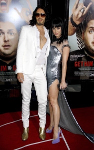 Russell Brand and Katy Perry at the World premiere of his new film Get Him To The Greek held on May 25th 2010 at the Greek Theater in Hollywood 1