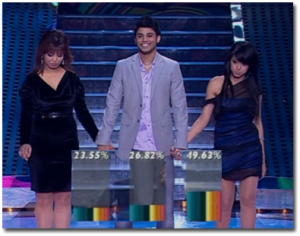 picture from the star academy prime on May 28th 2010 of the three nominees with Rahma from Iraq having the highest percentage of votes