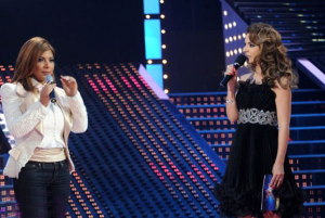 Asala Nasri with Hilda Khailfeh at the fifteenth prime on May 28th 2010 of the 7th season of staracademy