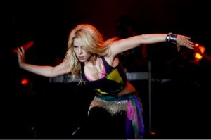 Shakira singing live on stage on May 21st 2010 at the Rock in Rio music festival in Lisbon 1