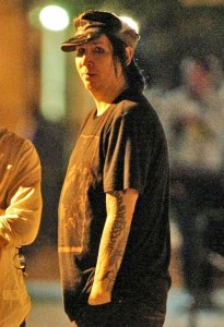 Marilyn Manson spotted on May 28th 2010 as he was hanging out and chatting with friends on the Lower East Side 2