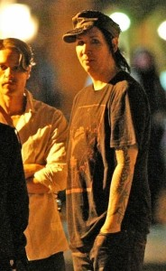 Marilyn Manson spotted on May 28th 2010 as he was hanging out and chatting with friends on the Lower East Side 1