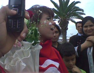 picture of star academy student badria Al Sayed from Yunis as she reaches home at the airport 1