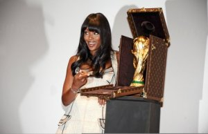 Naomi Campbell picture on June 1st 2010 as she presents the Official FIFA World Cup Trophy 4