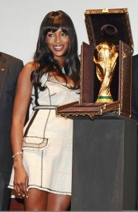Naomi Campbell picture on June 1st 2010 as she presents the Official FIFA World Cup Trophy 3