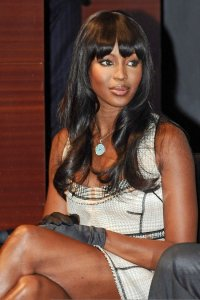 Naomi Campbell picture on June 1st 2010 as she presents the Official FIFA World Cup Trophy 2