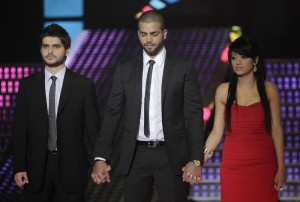 Nassif Zeitoun picture standing with Rahma from Iraw and Mohamad Ramadan from Jordan waiting for the final announcement of the winner 3