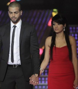 Rahma Sibahi together with Mohamad Ramadan on stage as they wait for the voting resulta on June 4th 2010