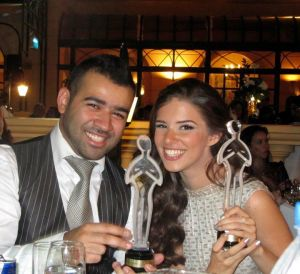 picture of Lara Scandar at the 2010 Mema Awards together with Bashar Shati