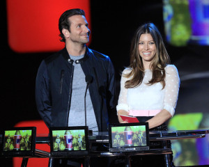Bradley Cooper and Jessica Biel on stage at the 2010 MTV Movie Awards held at the Gibson Amphitheatre on June 6th 2010 at Universal Studios in California 3
