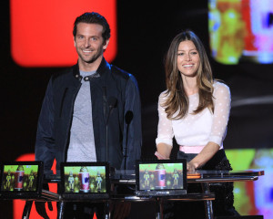 Bradley Cooper and Jessica Biel on stage at the 2010 MTV Movie Awards held at the Gibson Amphitheatre on June 6th 2010 at Universal Studios in California 2