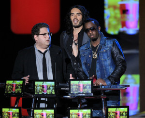 Russell Brand with Jonah Hill and Sean P Diddy Combs speak on stage at the 2010 MTV Movie Awards held at the Gibson Amphitheatre on June 6th 2010 at Universal Studios in California 3