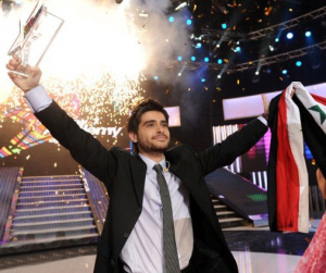 pictrure of the Star Academy 7 prime 16th finale while Nassif Zeitoun od Syria is announced as the winner 3