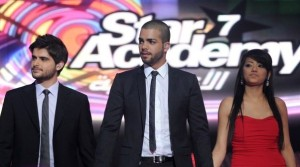 pictrure of the Star Academy 7 prime 16th finale with Nassif Zeitoun on stage with runner up Mohamad Ramadan and Rahma Sibahi