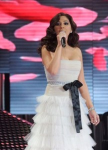 pictrure of the Star Academy 7 prime 16th finale during the performance of singer Elissa on stage 6