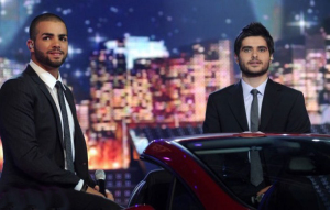 pictrure of the Star Academy 7 prime 16th finale with Nassif Zeitoun on stage with Mohammad Ramadan