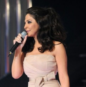 pictrure of the Star Academy 7 prime 16th finale during the performance of singer Elissa on stage 2