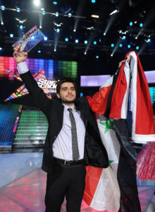 pictrure of the Star Academy 7 prime 16th finale while Nassif Zeitoun od Syria is announced as the winner 2