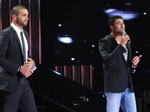 pictrure of the Star Academy 7 prime 16th finale during the performance of singer Wael Kfoury on stage with jordanian student Mohammad Ramadan